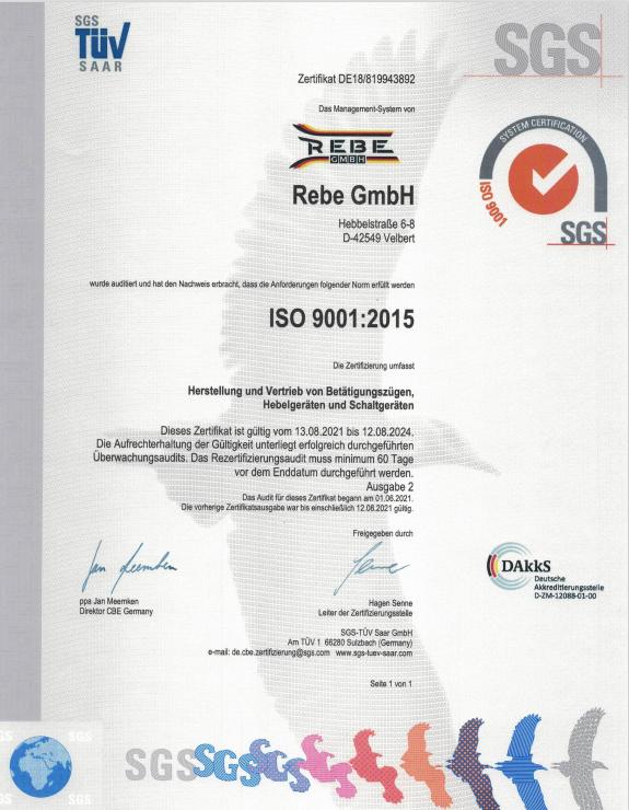 REBE GmbH ISO Zertifikat 2021 für die Herstellung und Vertrieb für Bowdenzüge
